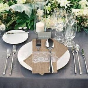 10 pack Burlap and Lace Silverware Holder